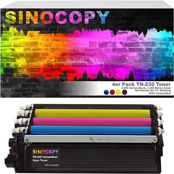4x Sinocopy Xxl Toner Kompatibel Für Brother Tn 230 Hl 3040n Hl 3040cn Hl 3070cn Hl 3070cw Mfc 9120cn Mfc 9320cw Dcp 9010cn Bürobedarf Schreibwaren