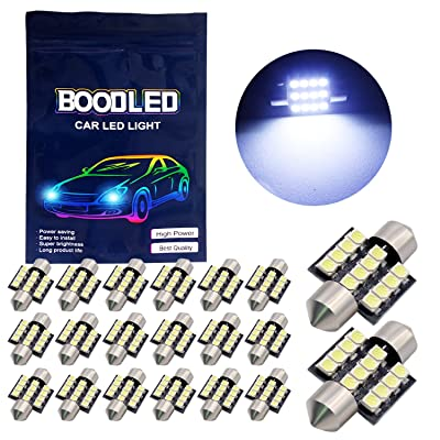 "Boodled 20X C5w 31mm(1.25"") LED Bulb 3528 12-SMD Chipsets COLD WHITE Festoon Interior Dome Map Trunk Cargo LED Bulbs Lights DE3175 DE3021 DE3022 3175,8000K,DC12V,Cold White.: Automotive"