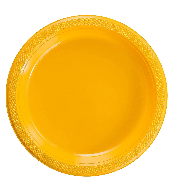 Exquisite Color sólido plástico de Postre/Platos de Ensalada – Platos Desechables – 50 Conde...