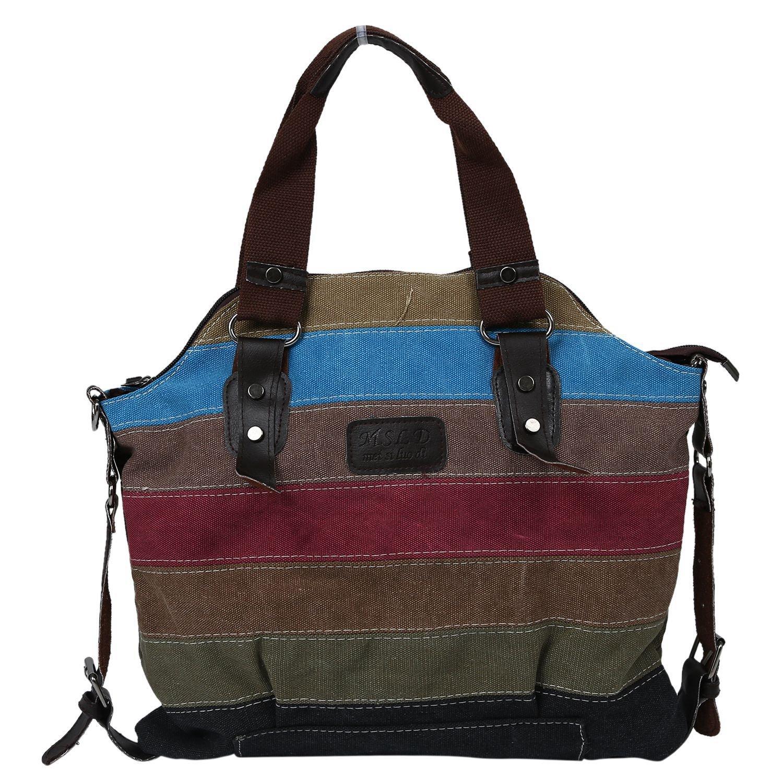 bolsa de hombro - SODIAL(R)Bolso de monedero de mensajero de mujeres de lona bolso de hombro de moda de vendimia de bloque colorido para mujeres 062544
