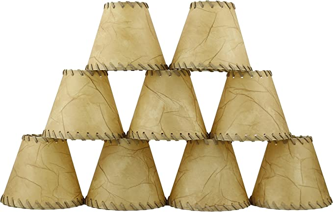 """Urbanest Faux Leather Chandelier lamp Shade Hardback,Laced Trim 3x6/""""x5"""" Set of 5"""