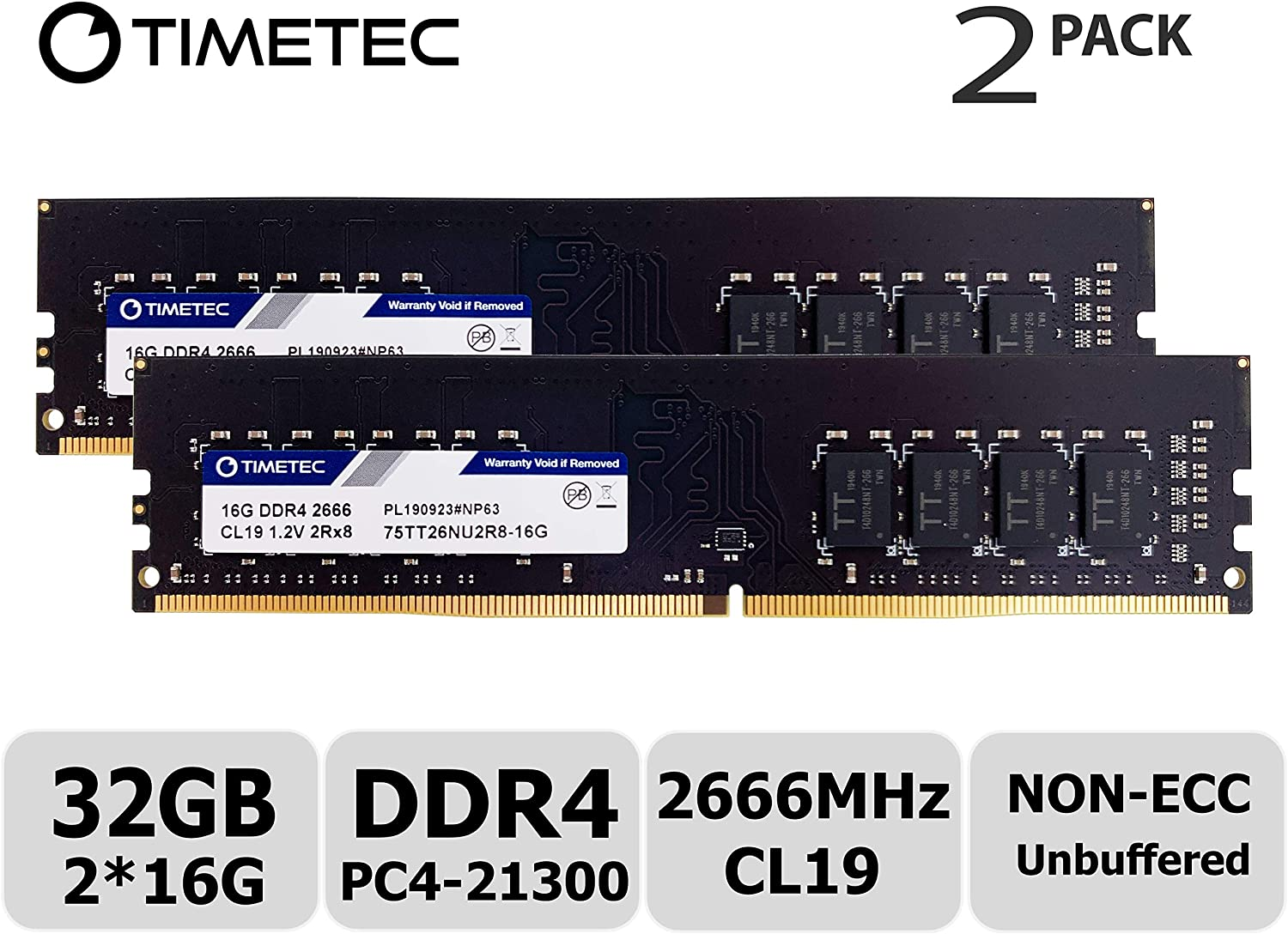 Timetec Hynix IC 32GB Kit (2x16GB) DDR4 2666MHz PC4-21300 Unbuffered Non-ECC 1.2V CL19 2Rx8 Dual Rank 288 Pin UDIMM Desktop Memory RAM Module Upgrade (32GB Kit (2x16GB))