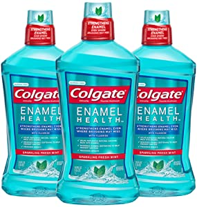 Colgate Enamel Strength Alcohol Free Mouthwash, Fresh Mint - 1L, 33.8 fluid ounce (3 Pack)