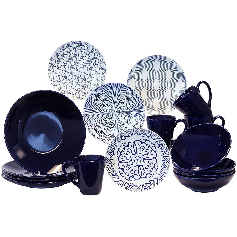 sc 1 st  Amazon.com & Amazon.com   Baum Blue \u0026 White 16-pc. Dinnerware Set: Dinnerware Sets