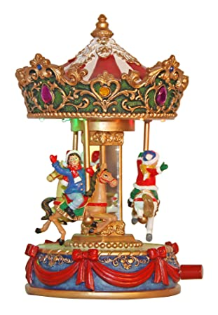 musicbox kingdom small christmas carousel with 8 different christmas melodies decorative item