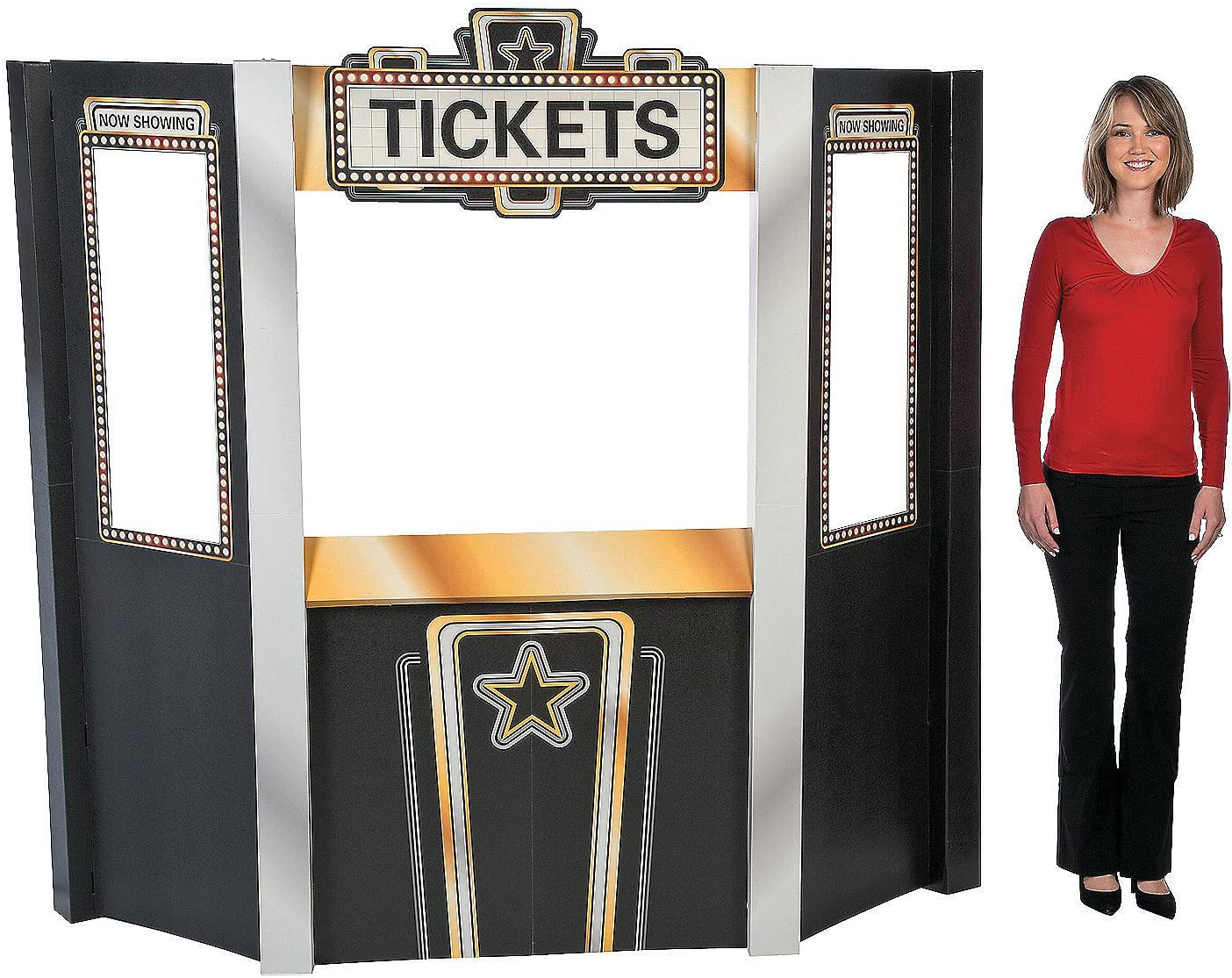 Amazon Com Fun Express Movie Theater Ticket Booth Stand Up For Party Party Decor Large Decor Floor Stand Ups Party 1 Piece Toys Games