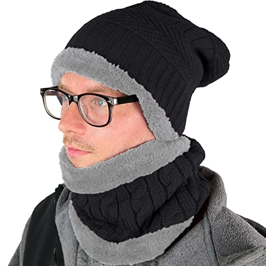Debra Weitzner Mens Slouchy Beanie Knit Winter hat Neck Warmer Scarf Set  Black 764118c6cc09