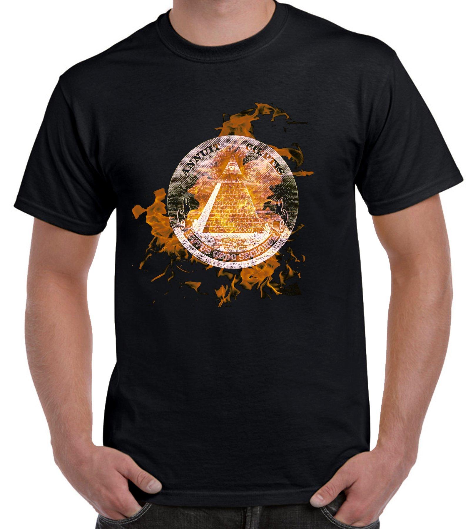 T Shirts Illuminati Flames T Shirt 3562