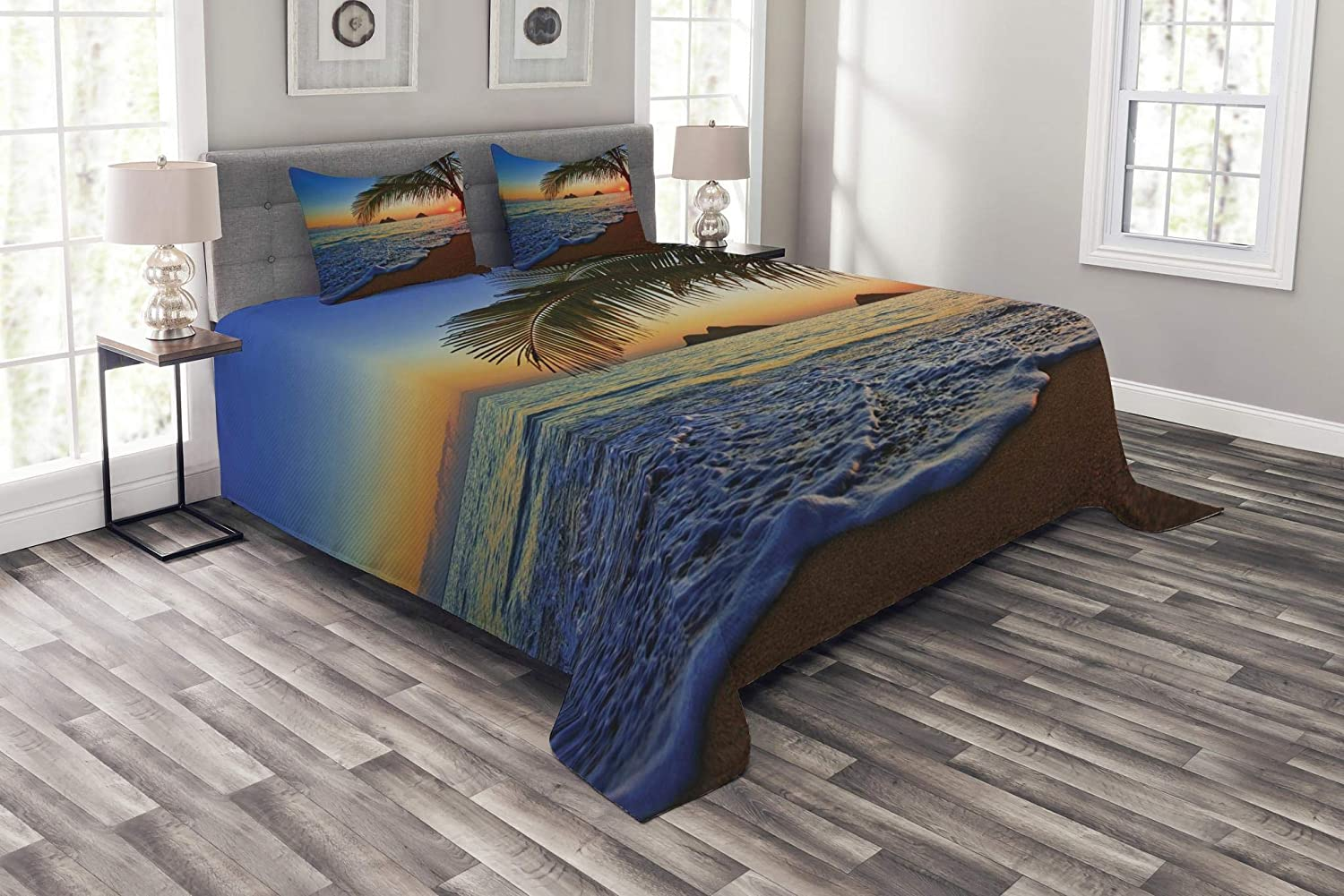 Ambesonne Hawaiian Bedspread, Pacific Sunrise at Lanikai Beach Hawaii Colorful Sky Wavy Ocean Surface Scene, Decorative Quilted 3 Piece Coverlet Set with 2 Pillow Shams, Queen Size, Blue Ivory