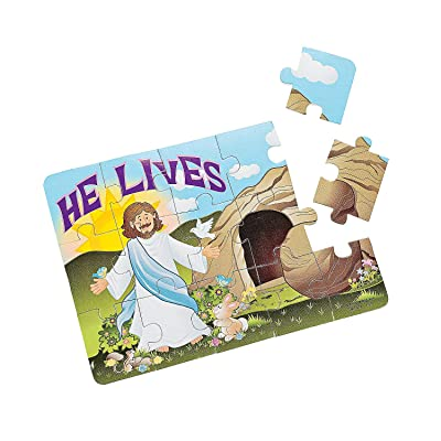 Fun Express - He Lives Foam Puzzles for Easter - Toys - Games - Puzzles - Easter - 12 Pieces: Toys & Games