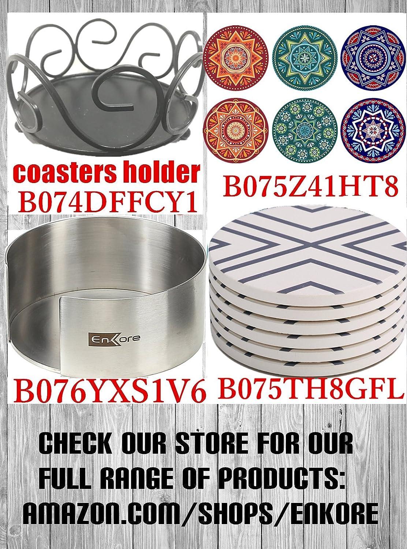 Diameter ENKORE Drink Coasters Absorbent 4 Mandala 4 Pieces Brown And Green Pattern 10cm