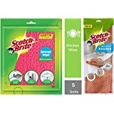 Scotch-Brite Sponge Wipe (5 Pcs) & Microfiber Kitchen Wipe (Orange) Combo