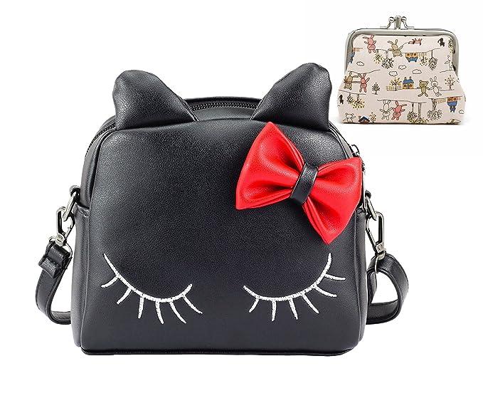 c6283c003c Amazon.com  Kids Girl PU Leather Shoulder Bags 3D Cartoon Bow Cat Ear Cross  Body Messenger Bags School Bag + Small Coin Purse Wallet (Black)  Clothing