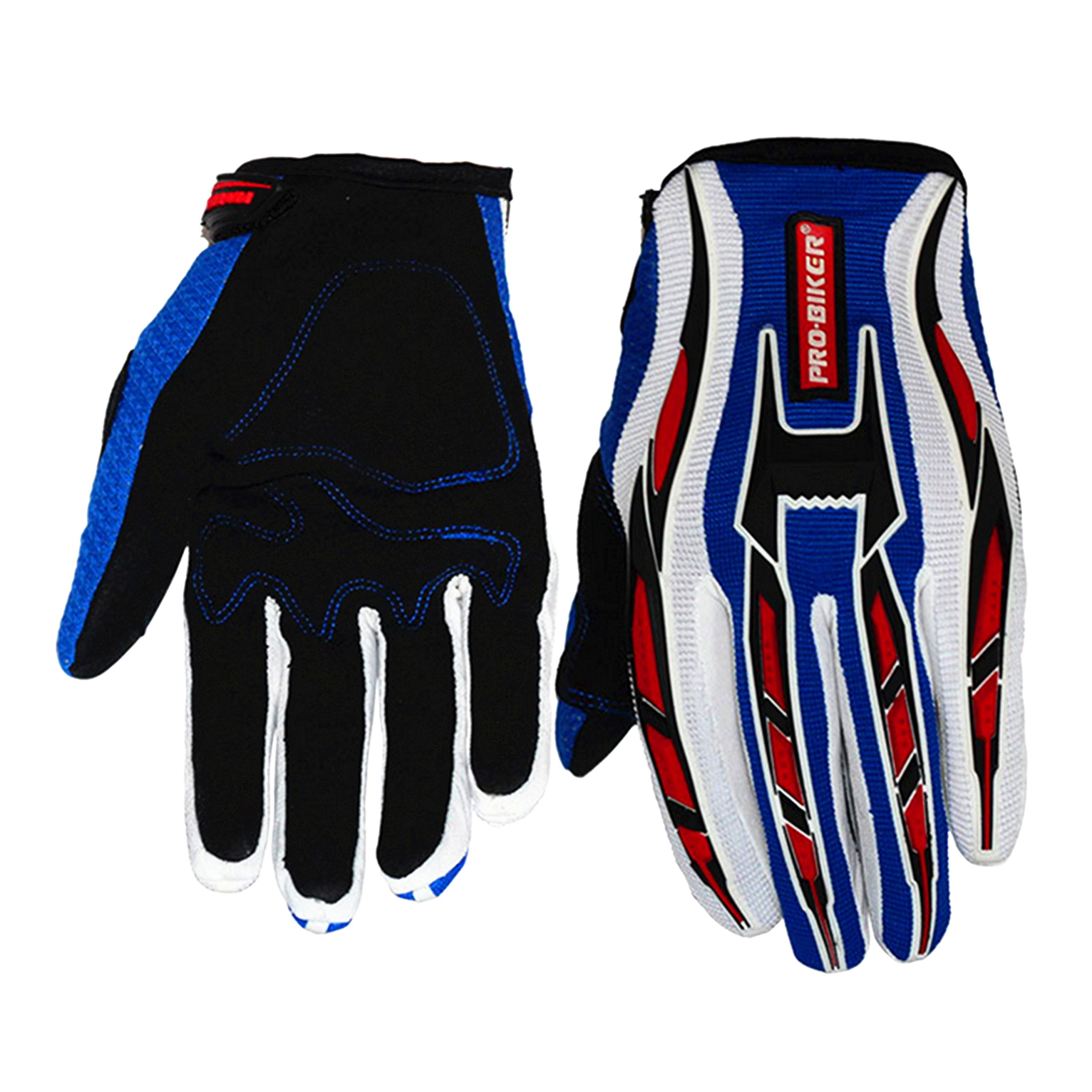 Jackey Awesome Three Colors Optional Pro-Biker Bicycle Motorcycle Motorbike Powersports Racing Gloves (XL, Suede Gloves,Blue)