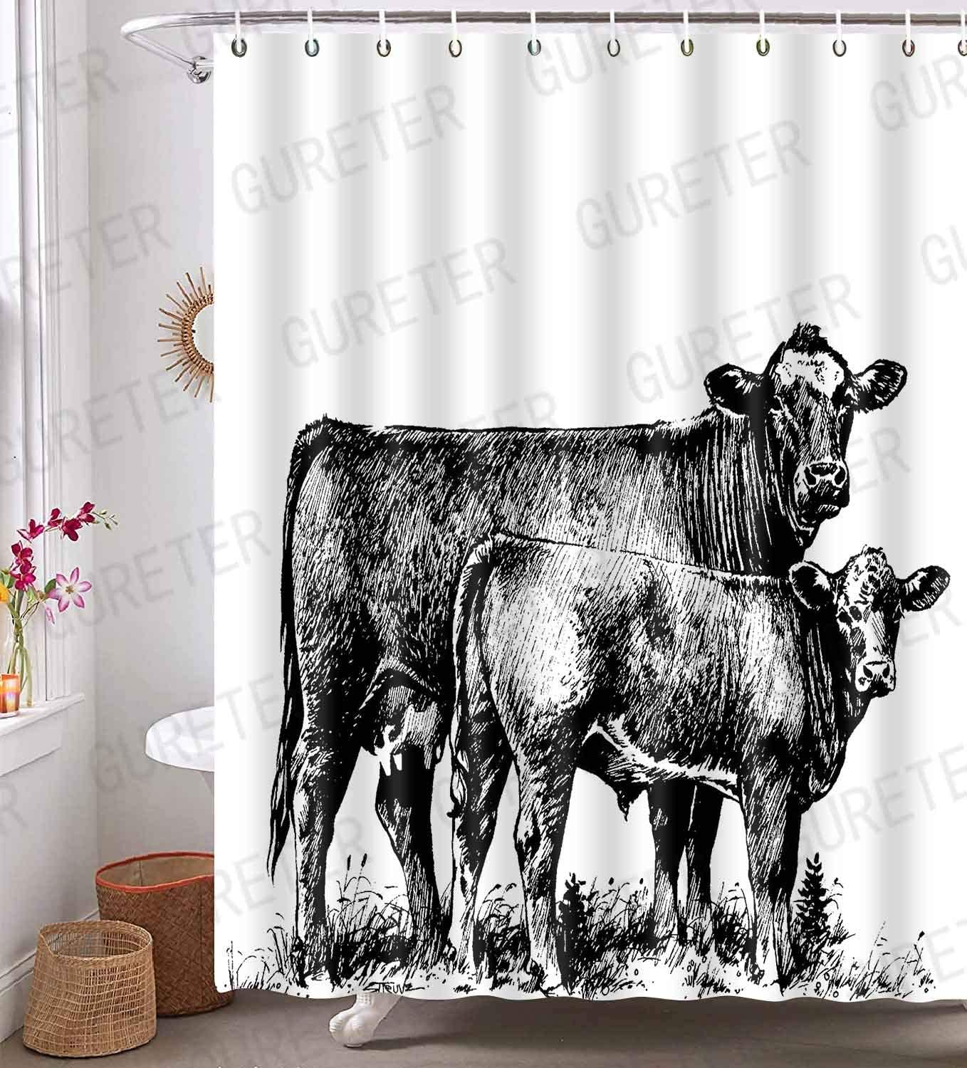 Cow Shower Curtain Farmhouse Animal Painting Art Bathroom Curtain Waterproof with 12 Hooks 72x72in YLLSGE54