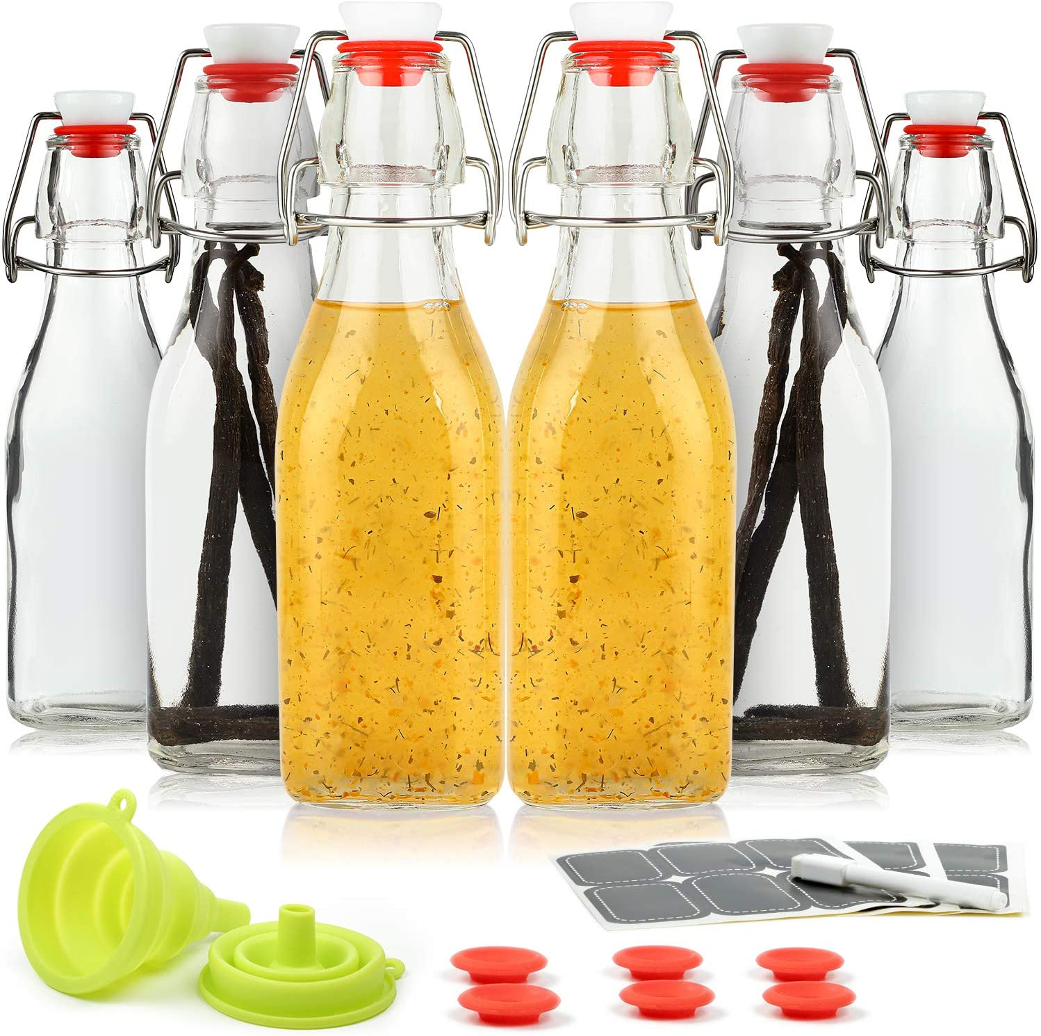 WILLDAN Set of 6-8.5oz Swing Top Glass Bottles - Flip Top Brewing Bottles For Kombucha, Kefir, Vanilla Extract, Beer - Airtight Caps and Leak Proof Lids, Bonus Gaskets and Funnel