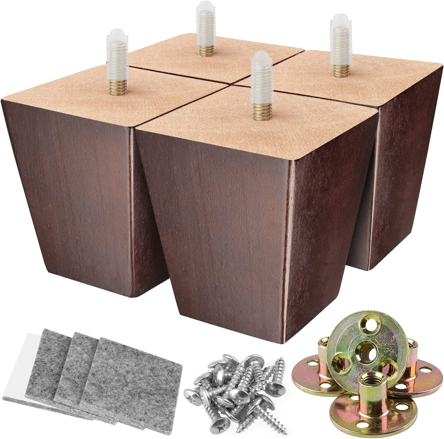 Furniture Legs 3 Inches Sofa Legs Square Couch Legs Mid Century Modern Walnut Wood Furniture Feet Replacement Legs with Mounting Plates Set & Felt Protectors for Sofa Cabinet Couch Bed Chair