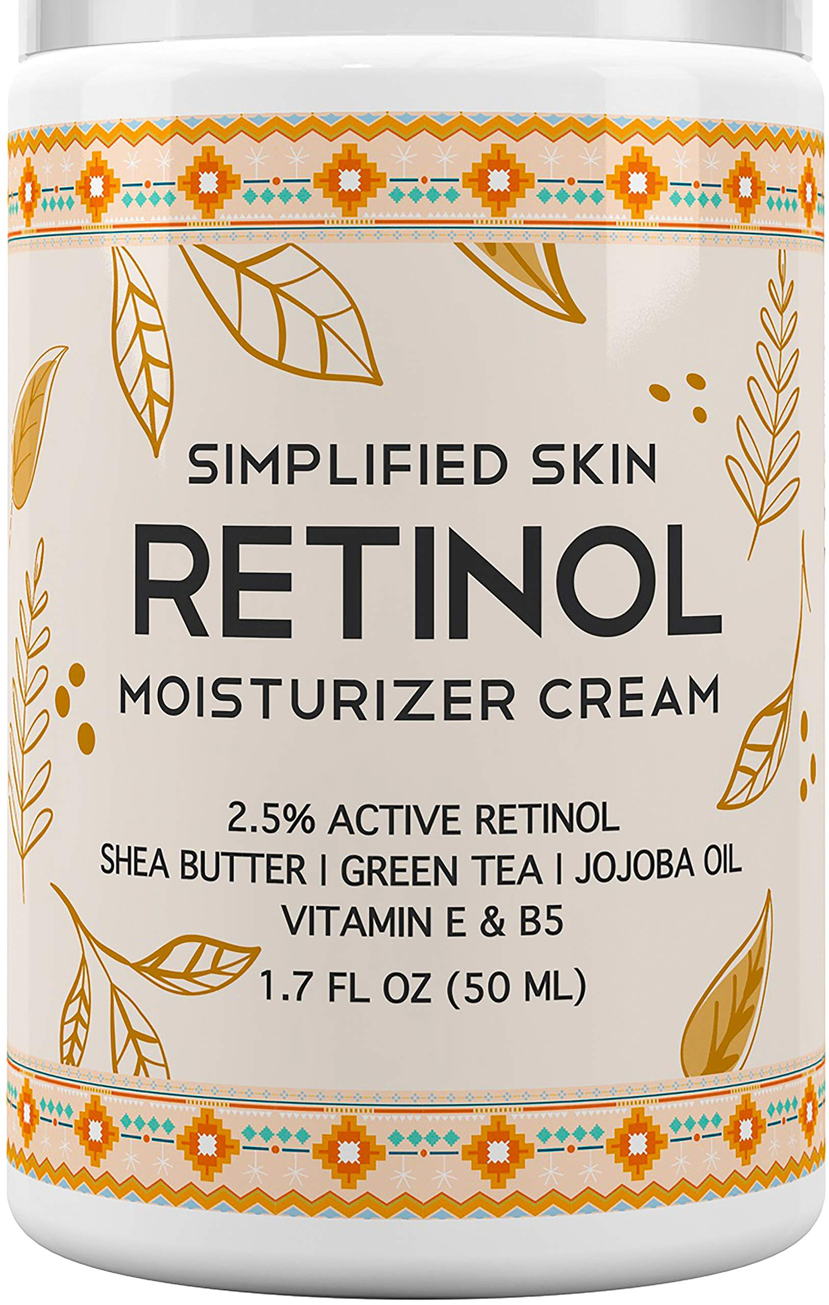 Retinol Moisturizer Cream 2.5% for Face & Eye Area with Vitamin E & Hyaluronic Acid for Anti Aging, Wrinkles & Acne - Best Night & Day Facial Cream by Simplified Skin 1.7 oz by Simplified Skin