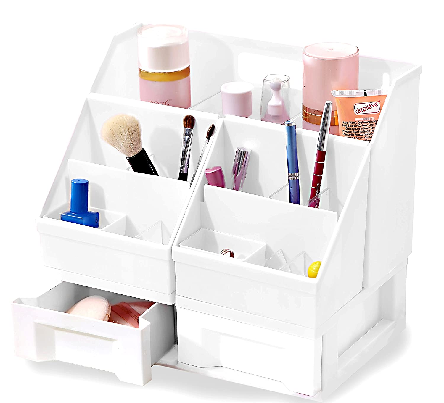 Uncluttered Designs Makeup Organizer with Drawers (Black) COMINHKPR121799