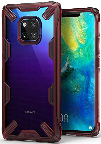 Ringke Fusion-X [Ruby Red] Designed for Huawei Mate 20 Pro Case Cover Clear  Dot PC Back with Rugged TPU Bumper Anti Rainbow Effect [Straps Access