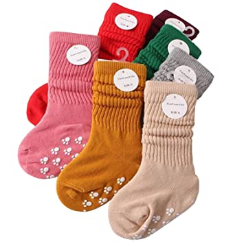 3812cb4b7bd6d Tdeal 4 Pairs Baby Boys Girls Crew Socks Anti Slip Non-skids Cotton Floor  Ankle Sock