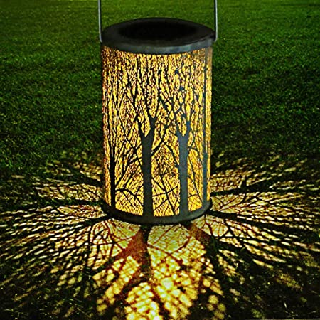 Einsgut Solar Lantern Outdoor IP44 Impermeable Decoración de jardín Lámpara Colgante de Noche para Exterior Jardín Césped Patio Patio Decoración (A): Amazon.es: Hogar