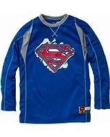 Superman Boys Long Sleeve Crew Neck Ringer Jersey with Logo