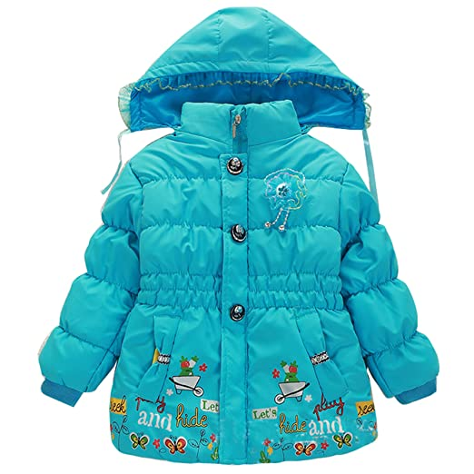 1806412136a5 Amazon.com  Girl Kid Baby Child Thick Flower Quilted Coat Hoodie ...
