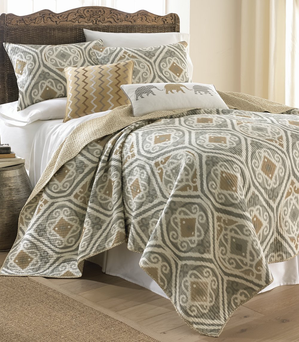 Levtex Samara King Cotton Quilt Set Gold, Grey
