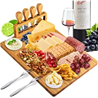 Xergur Bamboo Cheese Board Set - Charcuterie Board and Serving Meat Platter, Cheese Tray with 4 Stainless Steel Cheese…