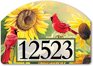 Yard Design Studio M Sunflower Cardinal Decorative Address Marker Yard Sign Magnet, Made in USA, Superior Weather Durability, 14 x 10 Inches