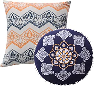 Greenland Home Medina Pillow Set, 3 Piece, 18x18 inches Plus 18 inches Round, Saffron