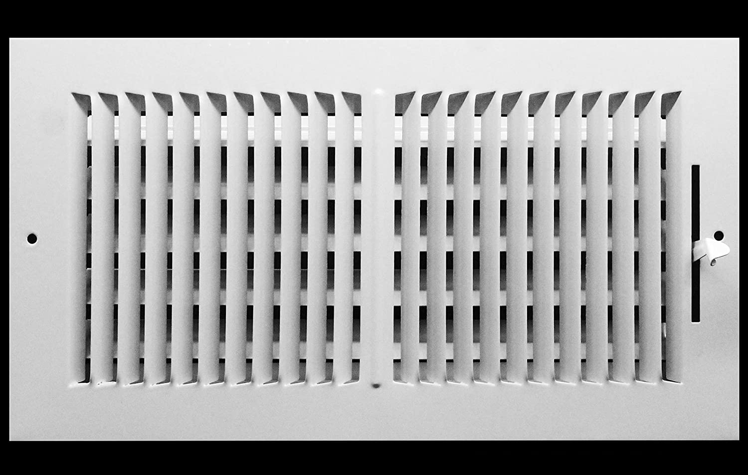 """16"""" X 8"""" 2-Way-Vertical AIR Supply Grille - Vent Cover & Diffuser - Flat Stamped Face - White [Outer Dimensions: 18.00""""w X 9.75""""h]"""
