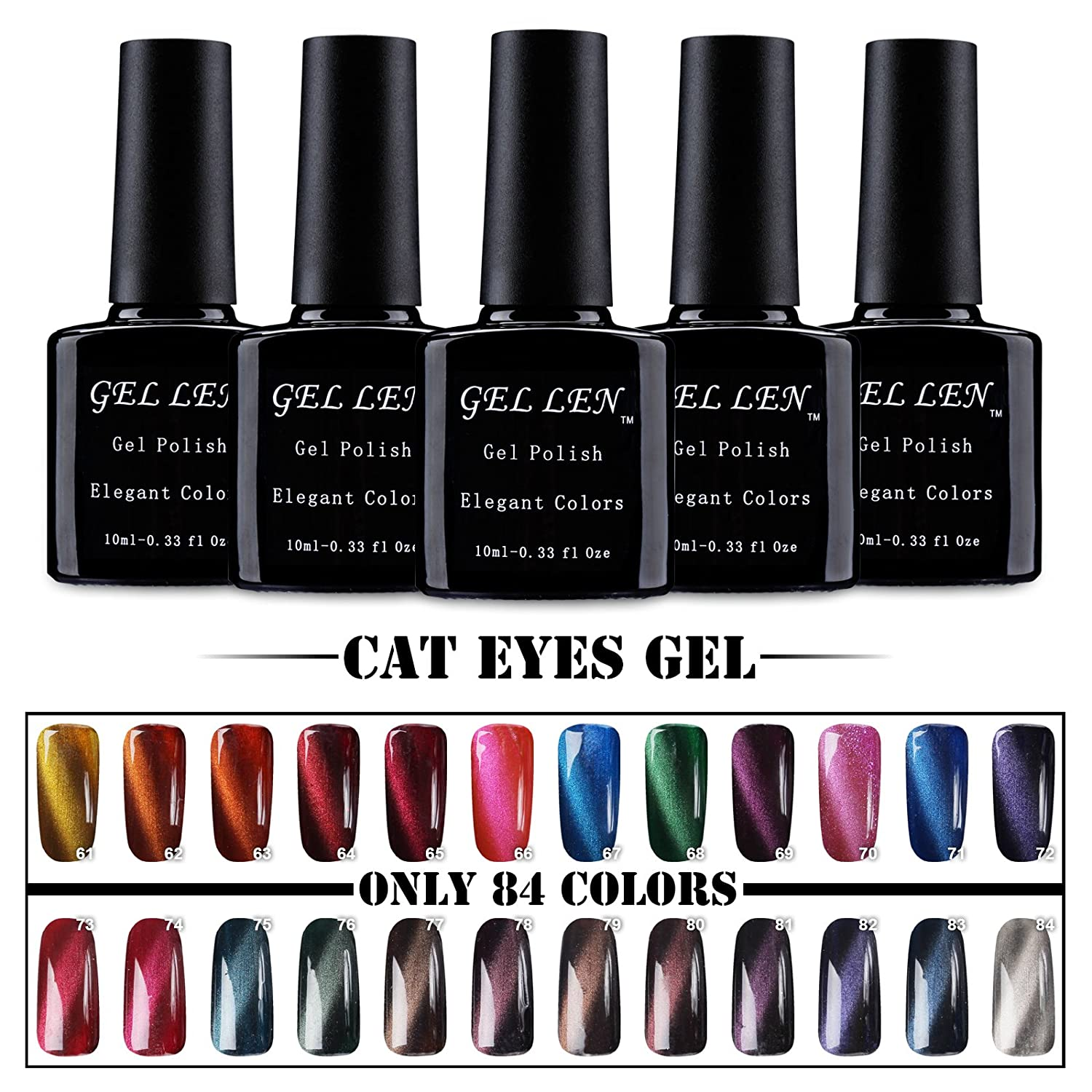 Gellen Cat Eye Gel Nagellack UV Gel Farbgel Led Nagellack 10ml *6PCS ...