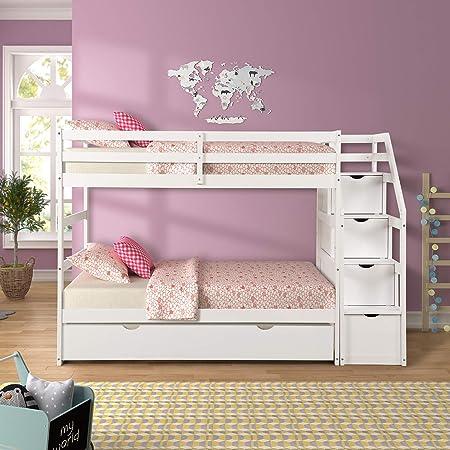 Litera individual con 4 cajones en los escalones y una cama nido doble, color blanco: Amazon.es: Hogar