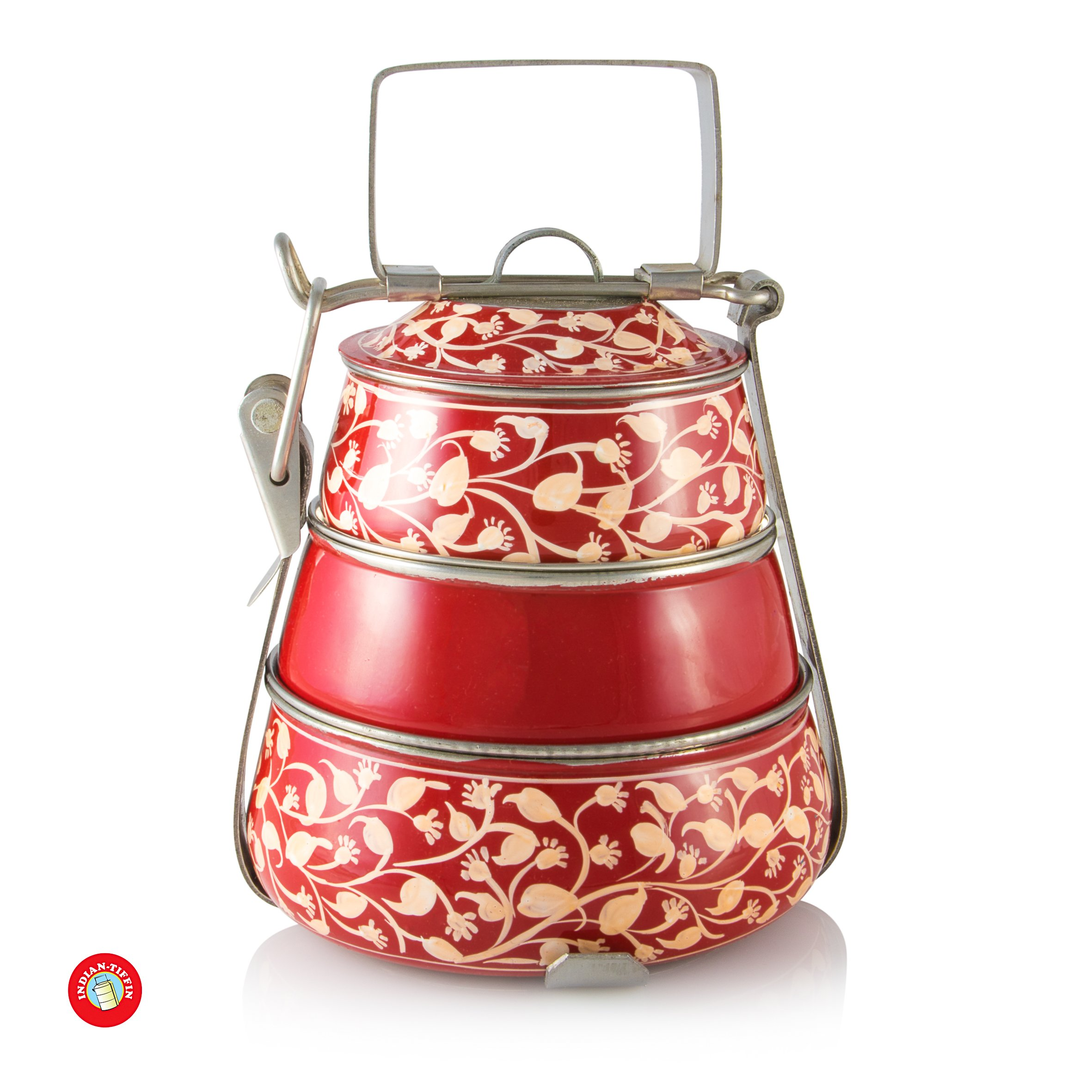 3 Tier Pyramid Red Handpainted Tiffin by Indian-Tiffin