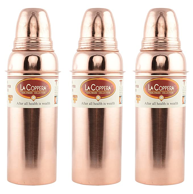 LA Coppera Pure Copper Water Bottle for Ayurvedic Health Benefits 900ml Leak Free and Joint Free (Combo Set of 3) Amazon.in Home u0026 Kitchen  sc 1 st  Amazon.in & LA Coppera Pure Copper Water Bottle for Ayurvedic Health Benefits ...