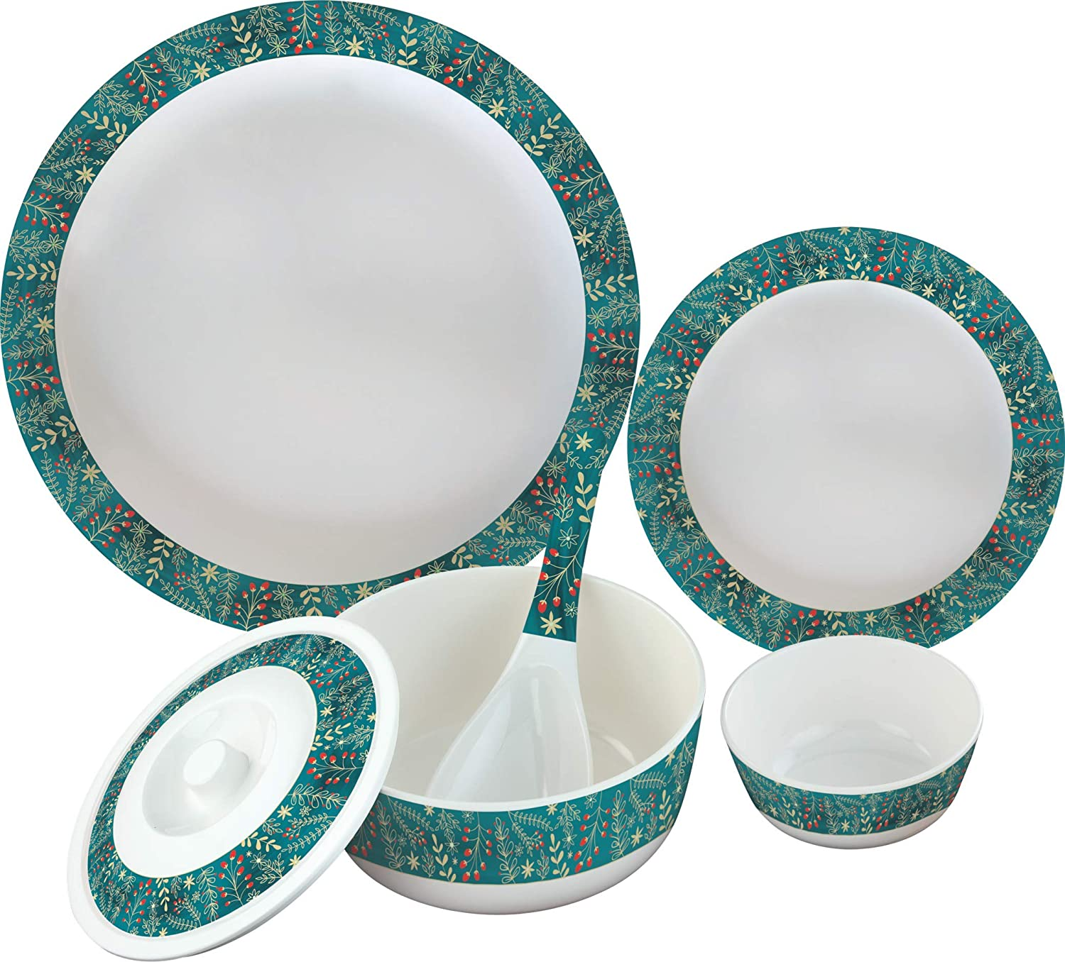 Buy Servewell 24 Pcs Melamine Dinner Set Garden Of Love Online At Low Prices In India Amazon In