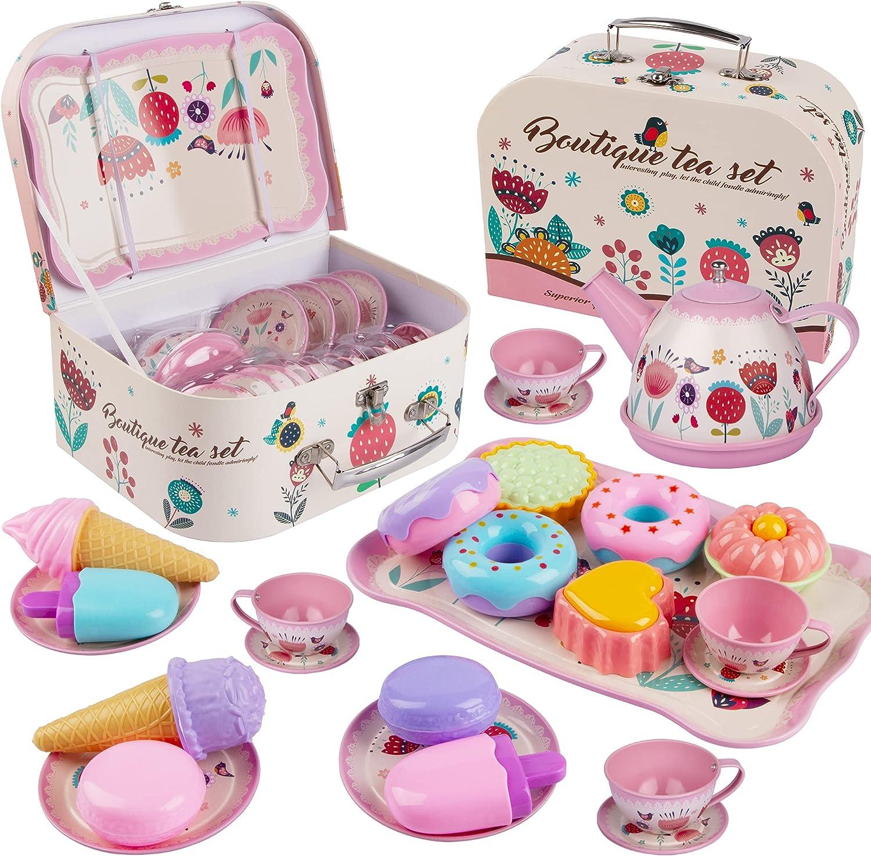 Tea Set for Little Girls, Noetoy Kids Tea Set 27 PCS Pink Tin Tea Party Set with Carrying Case & Food Sweet Treats Playset, Princess Tea Party Time & Kids Kitchen Pretend Play