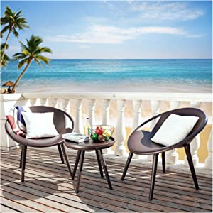 Kamots Beauty Outdoor Patio Chairs 3 Piece Plastic Modern Outdoor Furniture Sets for Front Porch