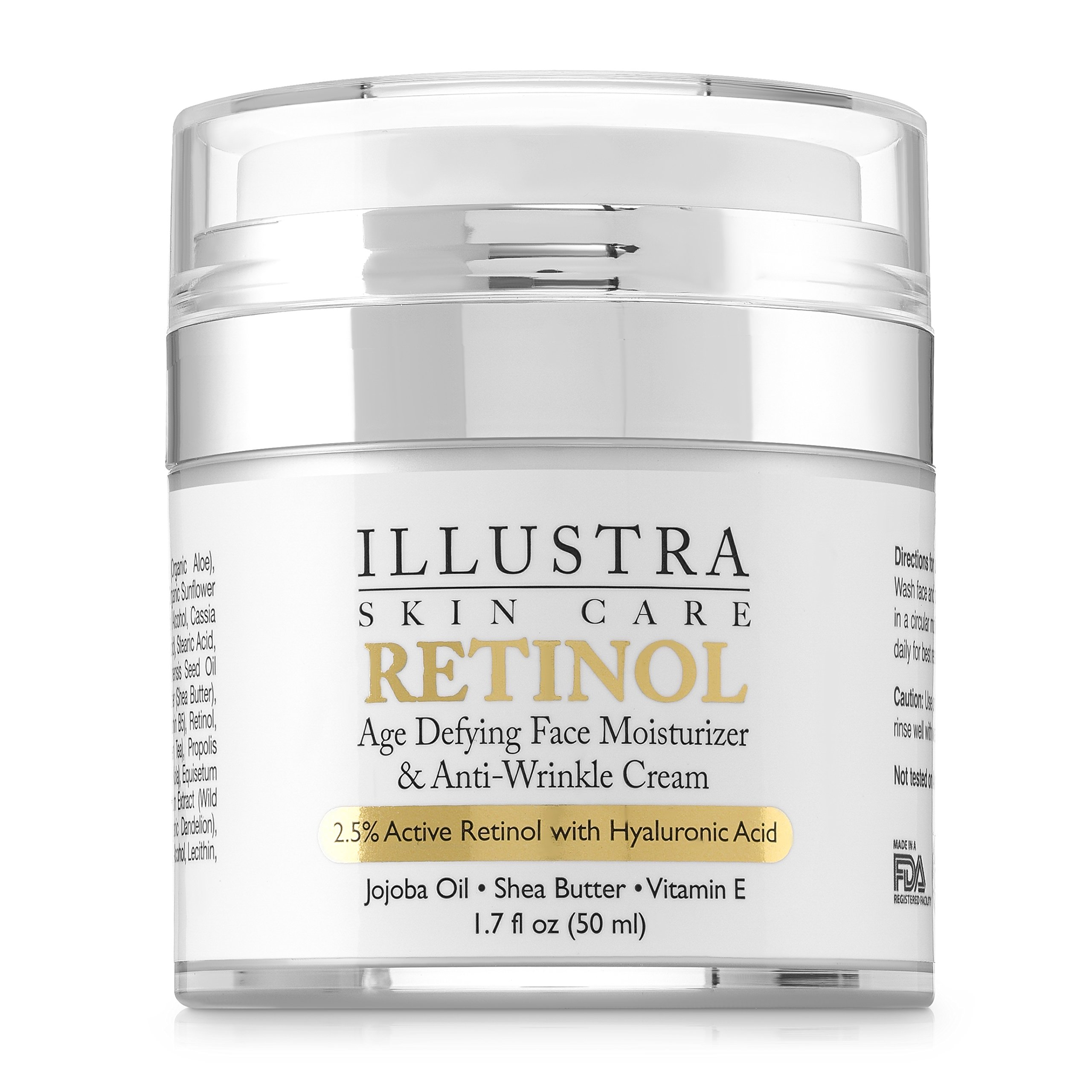 Best Retinol Anti Aging Anti Wrinkle For Face Cream Moisturizer by Illustra Skin Care - Organic Hyaluronic Acid, Natural Green Tea, Jojoba Oil, Shea Butter - Moisturizes & Hydrates Dry Skin by Illustra Skin Care