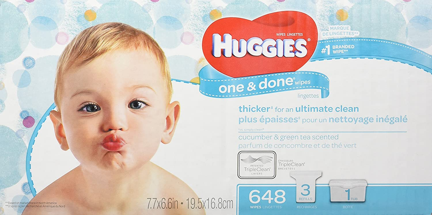 HUGGIES ONE & DONE Cucumber and Green Tea Scented Baby Wipes, Hypoallergenic (1 Tub, 3X Refill Packs, 648 Count) -5647