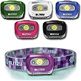 BLITZU Head 手电筒头灯,165 流明前灯带亮白色Cree LED + 红色灯,适用于儿童、男士、女士、跑步者。 电池包括跑步、露营、防水可调节头带