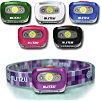BLITZU Brightest Headlamp Flashlight 165 Lumen with Bright White Cree Led + Red Light for Kids, Men, Women. Perfect for…