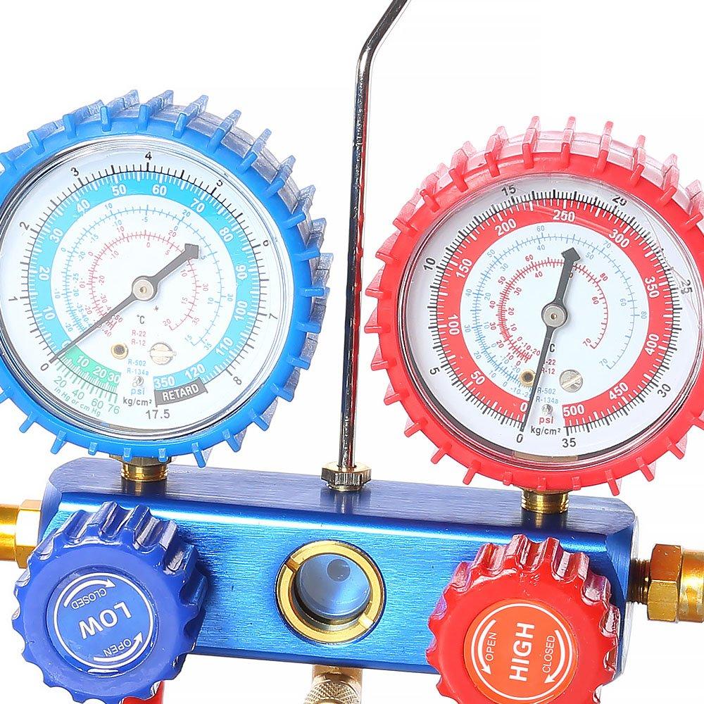 Melko Monteurhilfe 2-Wege Klimaanlage R134a R22 R12 R502 Gauge Set Koffer Manometer