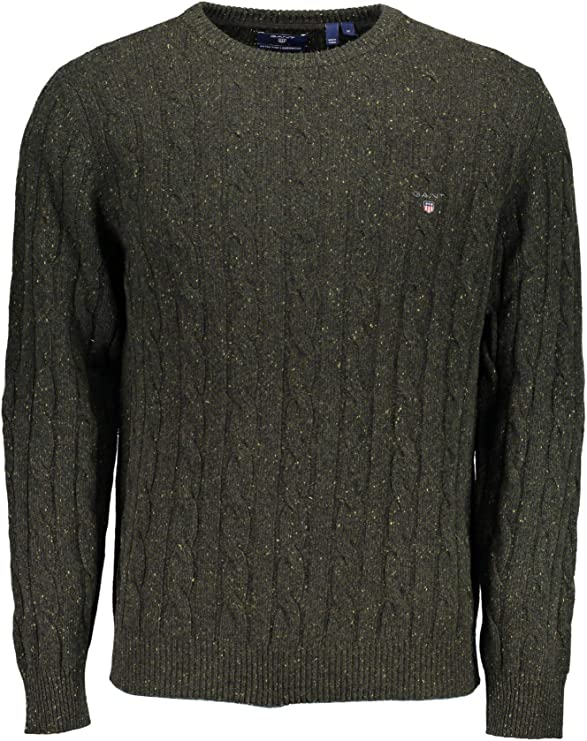 TALLA XXL. GANT Neps Lambswool Cable Crew Sweater suéter para Hombre