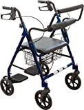 Roscoe Medical 30194 Transport Rollator with Padded Seat, Blue