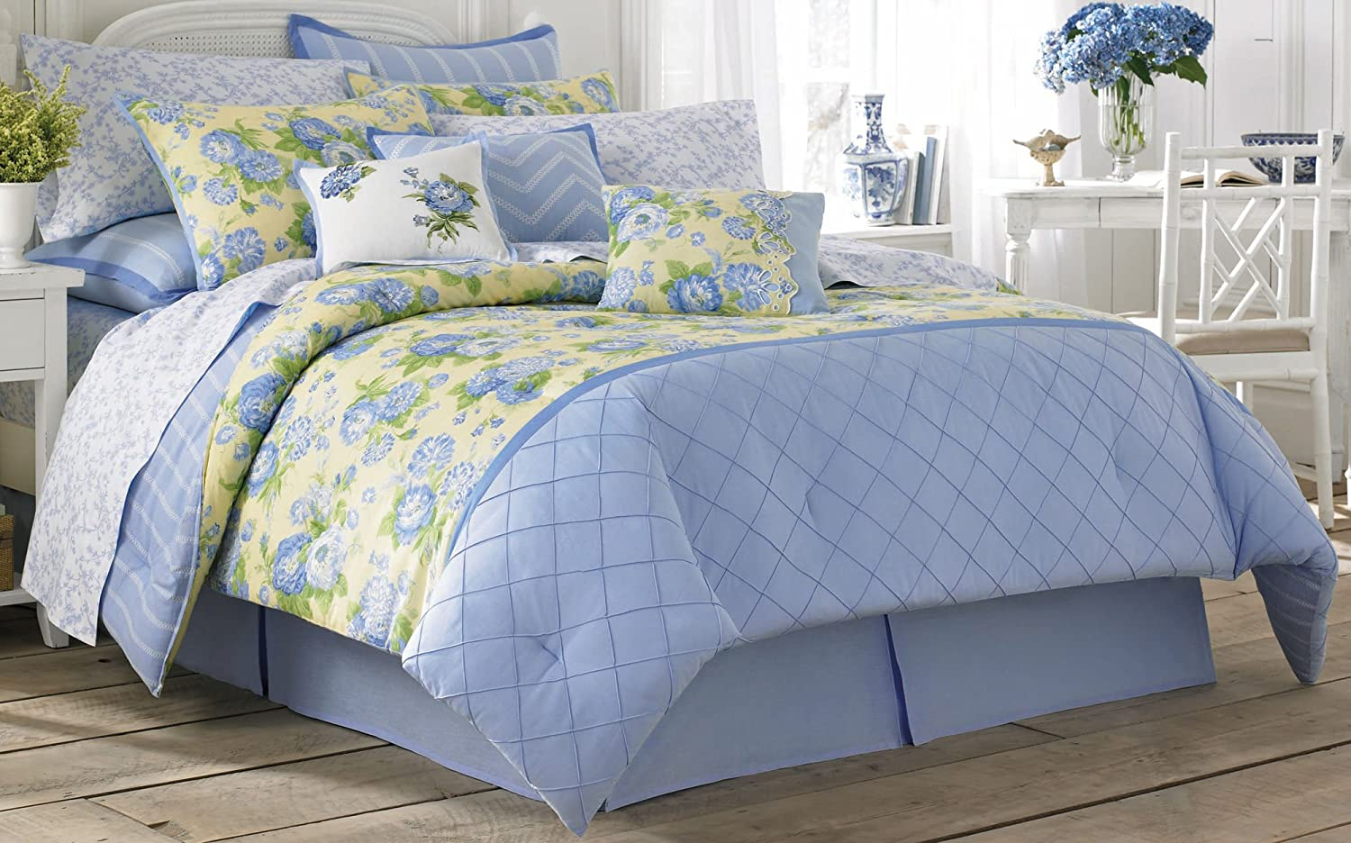 Laura Ashley Salisbury Comforter Set, Blue, King