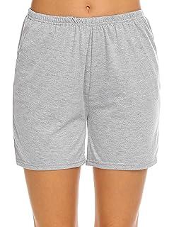 90713969b14 Ekouaer Pajama Bottoms Women's Soft Sleep Shorts Cotton Solid Sleepwear  Pants S-XXL