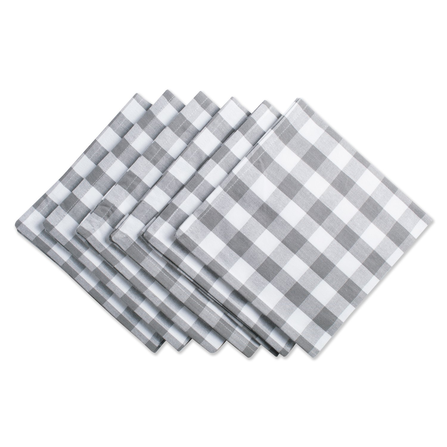 DII Oversized 20x20 Cotton Napkin, Pack of 6, Gray & White Check - Perfect for Fall, Brunch, Weddings, Dinner Parties, or Everyday Use